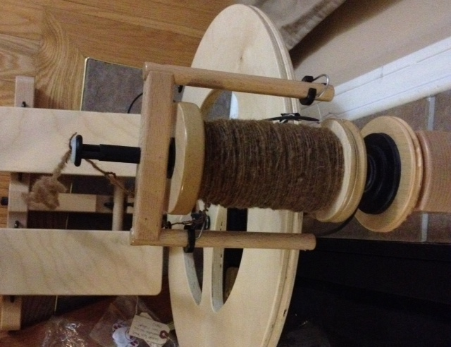 Castlemilk Moorit spinning in progress