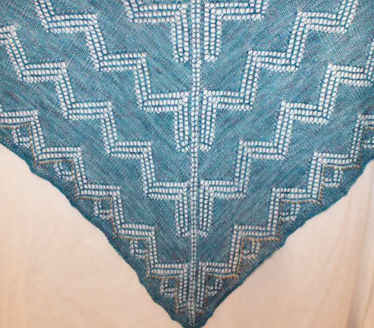 Khufu Shawl with lace border in Indigodragonfly Merino Single Lace (Kelp is on the way)