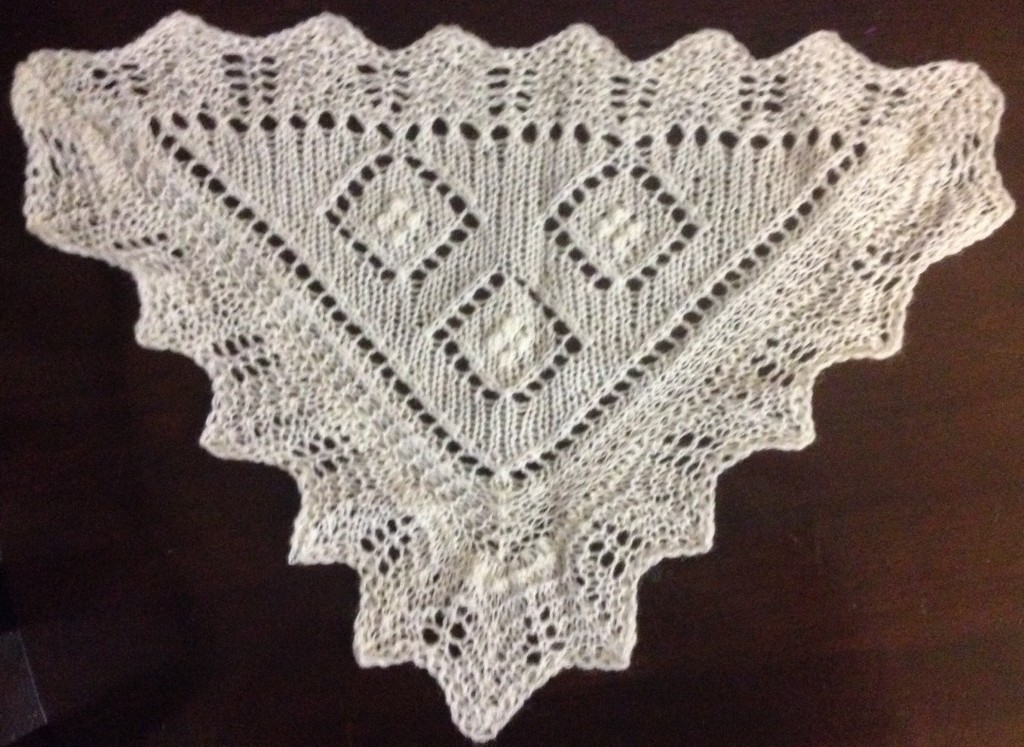 Sampler from Nancy Bush's class on Estonian Lace & triangular shawl construction