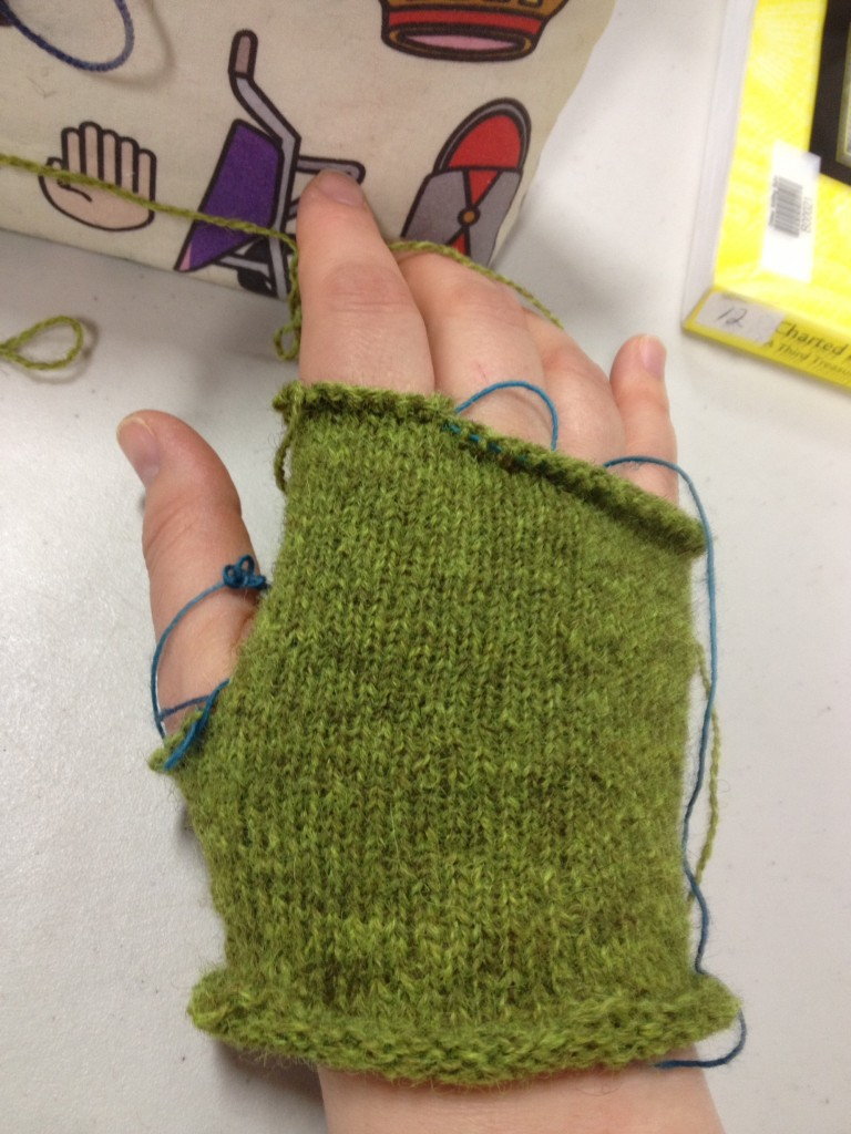beginning of glove from class with Nancy Bush
