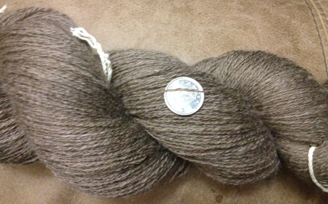 2 ply qiviut spun from fiber from Cottage Craft Angora (~817 yds in 54g)