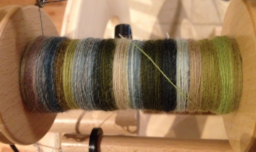 BFL in Foggy Meadow from Southern Cross Fibre, bobbin 1 of 4