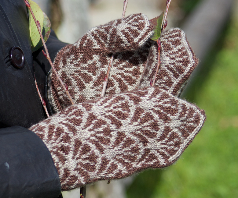 Frond Mittens - stranded fingering weight