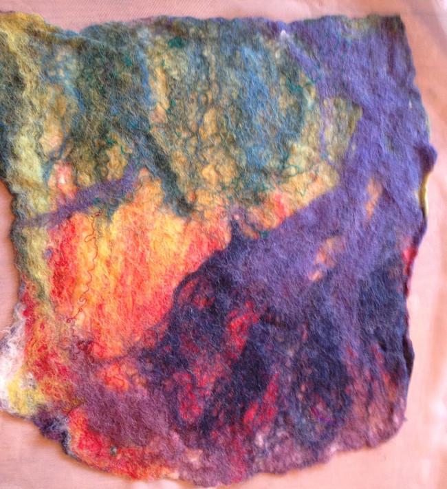 small felt sample, side 1, post-felting