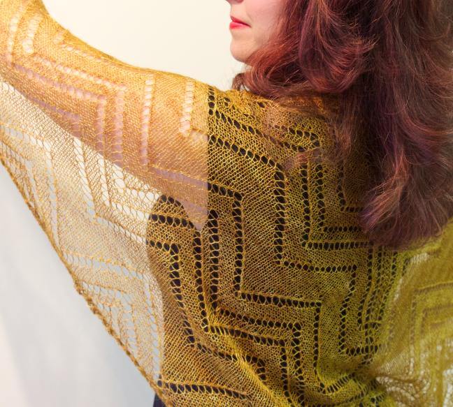 Cormier Grille Shawl by Natalie Servant - yarn is Turtlepurl Yarns Angel Lace in Lothlorien
