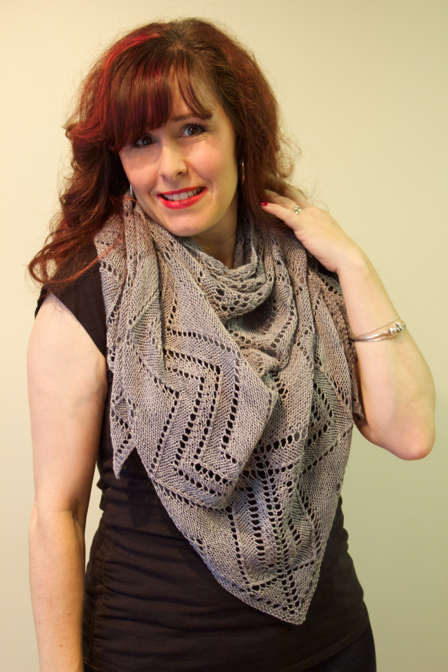 Cormier Grille Shawl by Natalie Servant (Canadian Art Deco Knits) on Pewter Sock from Yvieknits Yarn