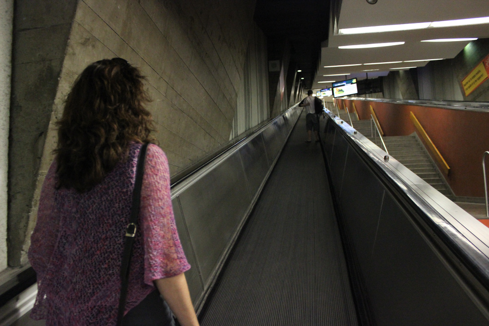 heading up the moving walkway