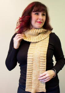 Hockey Scarf by Natalie Servant in Sweet Fiber Yarns Coastal (DK)