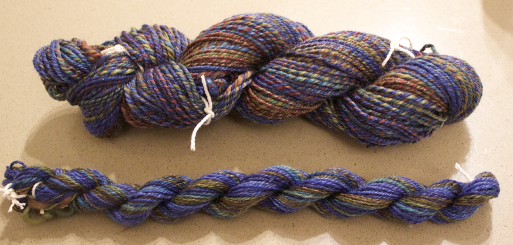 Twelve - skein of 3 ply spun from Southern Cross Fibre's Polwarth/Tencel blend
