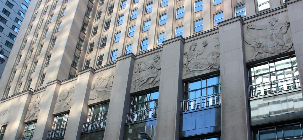 bas reliefs by Frederick Winkler, Bank of Nova Scotia, Toronto