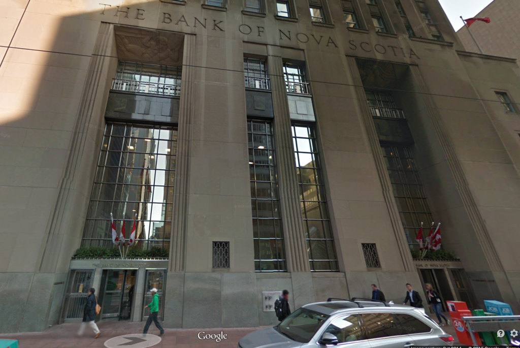 Front facade of Bank of Nova Scotia on King St. in Toronto from Google Street View