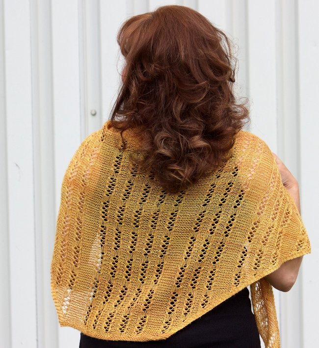 Dominion Shawl by Natalie Servant in Sweet Georgia Yarns Merino Silk Lace (Goldmine)