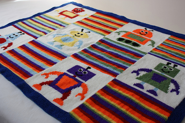 The Knitbots baby blanket by Vikki Bird